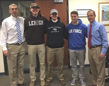 LaSalle College High School 2016 Lacrosse Commits. Tony Resch (Assistant Head Coach), Daniel Rivera (Lehigh University), Cody Mazurek (High Point University), Craig Coleman (United States Air Force Academy), Bill Leahy (Head Coach)