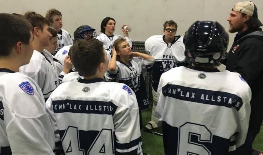 Penn*Lax Coach Luke Wiles addresses the middle school team