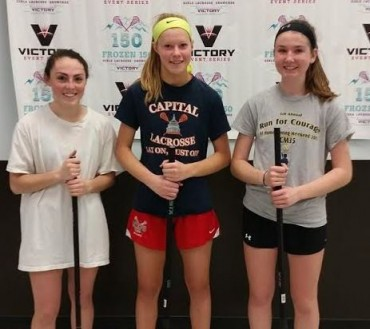 Hawks MVPs (from left): Kira Repich (Storm Elite), Kaitlyn Arcari (Capital Lacrosse), Kathryn Kelley (Dynamite Lacrosse Club)