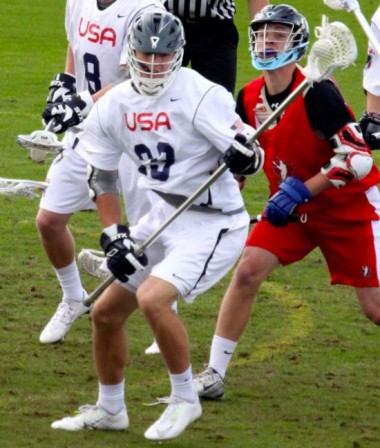 Defenseman Noah Lejman (Haverford School) is seen here in action with Team USA (Photo for Phillylacrosse.com)