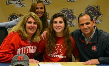 Spring-Ford senior Brianna Cirino, seated between parents Trish and Tom Cirino, signs a national letter of intent to accept a Division I lacrosse scholarship from Rutgers (N.J.) University during a recent ceremony at the high school that was also attended by Spring-Ford coach Amy Short (standing). - See more at: http://pac-10sports.com/article/content/girls-lacrosse-spring-ford-senior-brianna-cirino-signs-division-i-rutgers-0023755#sthash.EDF0ep8U.dpuf