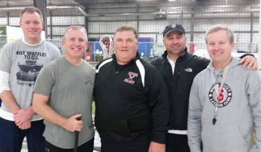 Some coaches that participated in the Bucks Select clinic included (from left) The attached picture  from left to right; March Coleman (CBAA Coach Development Director), Chris Jacobson (Warrington Warrior Athletic Director), Paul McGovern (Bucks Select), Nick Walter (President CBAA Lacrosse) and Mike Sharman (Bucks Select)