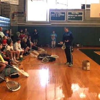 Greg Cattrano addresses the goalies at his annual Co-Ed Goalie Clinic at Shipley, now in its 15th yrar