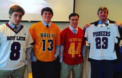 PNC Lacrosse Invitational representatives were (from left) Boys' Latin's Ryan Shaw, Billis School's Nick Petkevich, Calvert Hall's Andrew Fanshaw and TV/radio announcer and Philly grad Booker Corrigan, standing in for Conestoga