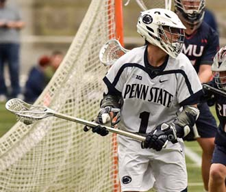 Penn State's   Grant Ament (1) during the Nittany Lions game with Robert Morris. The Nittany Lions opened the 2016 season by defeating the Colonials of Robert Morris, 20-1 in Holuba Hall on Feb.6, 2016. Photo by Mark Selders