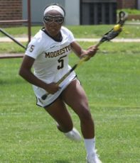 Moorestown's Brittany Wright head downfield during Saturday's 11-9 loss to Good Counsel