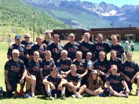 The Elderstatesmen claimed their eighth straight Grand Master's title at Vail. The squad featured Philly's Gary Martin (wearing cap in top row, fifth fm the left; and Tommy hannum, top right)