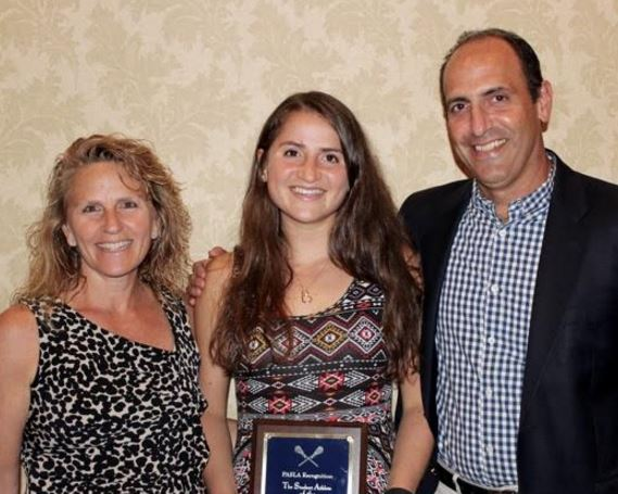 PASLA Student-Athlete of the Year Jessie Rubin (Friends' Central) and her parents, FC coach Lauren Becker Rubin and Bob Rubin
