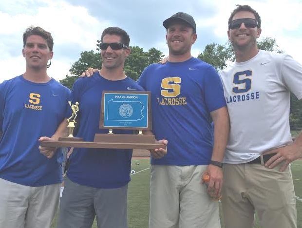 Springfield-Delco State champion coaches: (from left) Jordan Demcher, Head Coach and Phillylacrosse.com Coach of the Year Tom Lemieux, Jason Orlando, Ryne Adolph. Not pictured - Mike Gurenlian and Austin Kaut