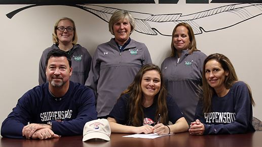 Methacton senior Alana Cardaci signs a national letter of intent to Shippensburg University during a recent ceremony at the high school. Pictured from left (standing) Catie Sobotor (Coach), Laurie Markle (Head Coach), Casey Leap (Coach) Seated from left- Gregory Cardaci (Father), Alana Cardaci, Paula Cardaci (Mother)